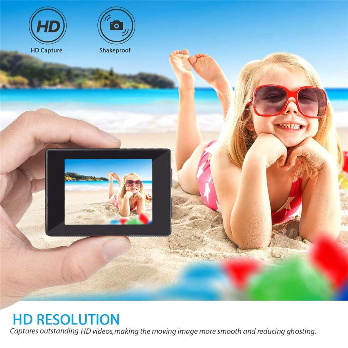 Nesolo Kids Digital Camera, Waterproof Camera for Kids Toy for Boy Girls Holiday Birthday Gift with 2.0 Inch LCD Display by Nesolo (Image #2)