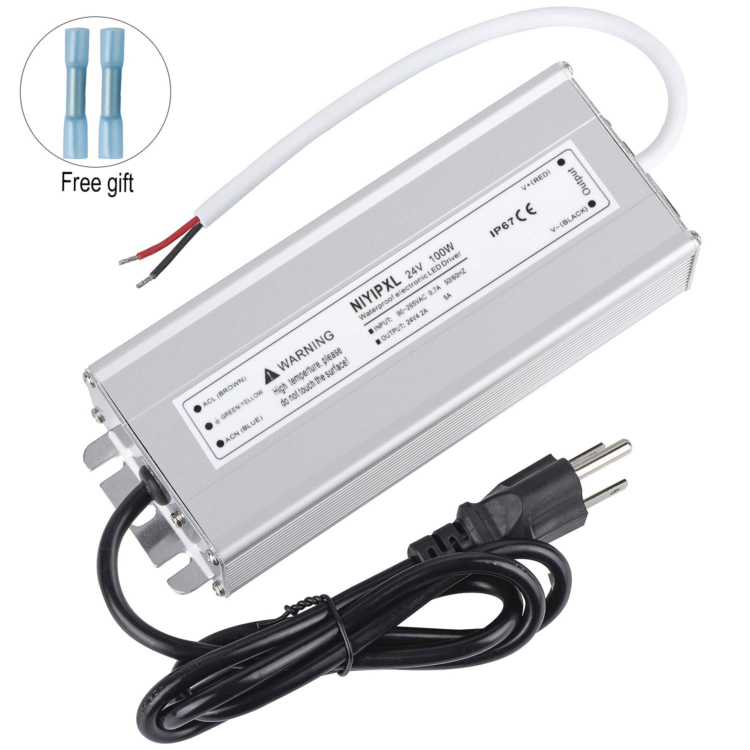 LED Driver 100 Watts 24V DC Low Voltage Transformer, Waterproof IP67 LED Power Supply, Adapter with 3-Prong Plug 3.3 Feet Cable for Any 24V DC led Lights, Computer Project, Outdoor Light