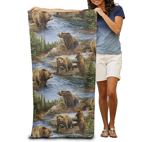 SL1 Toalla de baño unisex con diseño de osos y manta de máxima suavidad y absorción
