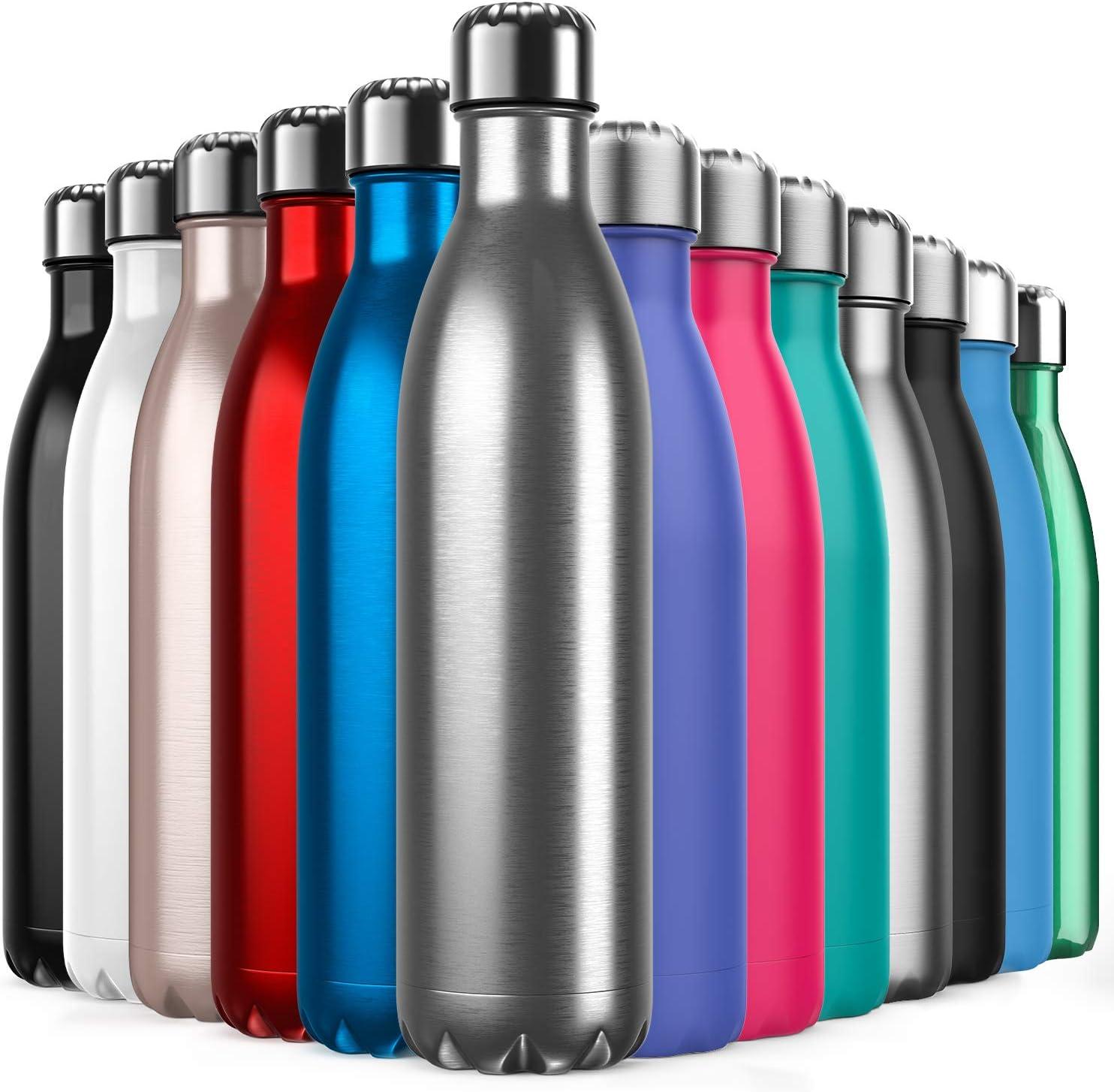 Invool Botella de Agua de Acero Inoxidable,Diseño de Pared Doble,Boca EstáNdar,para Correr,Gimnasio,Yoga,Ciclismo,750ML,Acero Inoxidable