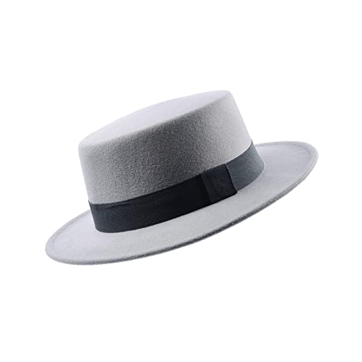 8149ac8cb80 MATCH MUCH Boater Hat Felt Hat with Flat Brim (Regular Brim-Grey) at ...