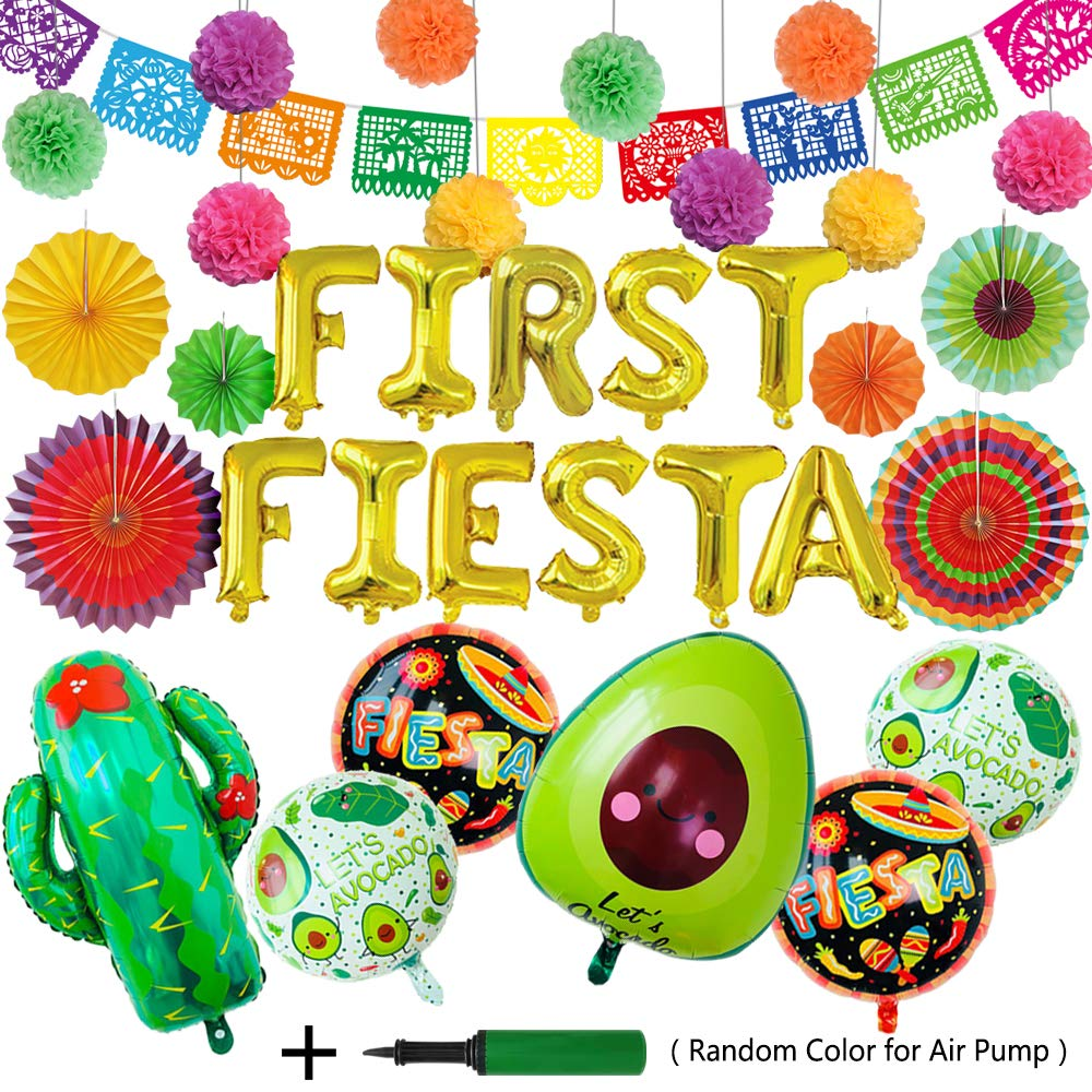Xplanet Fiesta Tissue Pompoms Party Foil Ballons, Cactus Ballon Cinco De Mayo Decorations Fiesta Theme Tissue Pom Paper Flowers- Mexican Party Supplies Decorations by Xplanet