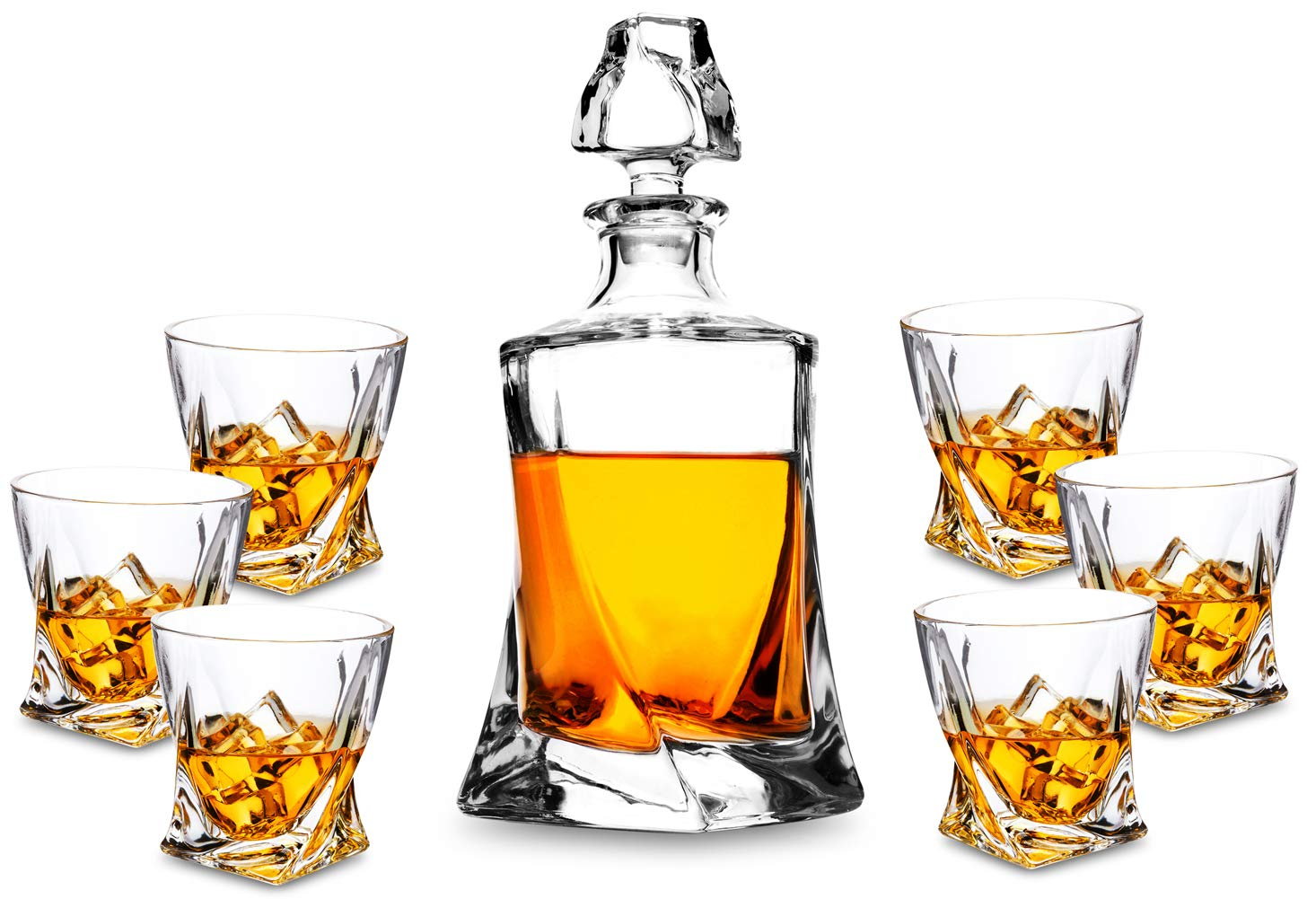 KANARS 7-Piece Ultra-Clarity Crystal Whiskey Glasses Set with 6 Old Fashioned Twisted Glasses for Scotch, Bourbon or Liquor