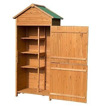 Outsunny - 90 x 50 cm jardín cobertizo madera Kit de herramientas de almacenamiento estantes con doble puerta con cerradura: Amazon.es: Jardín