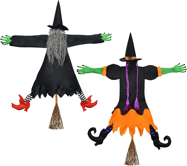 Crashing Witch Into Tree Halloween Decoration(2 Packs), Halloween Outdoor Tree Trunks or Pillars Decor