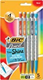 BIC Pencil Xtra Shine (Holographic Barrels), Medium Point (0.7 mm), 5-Count