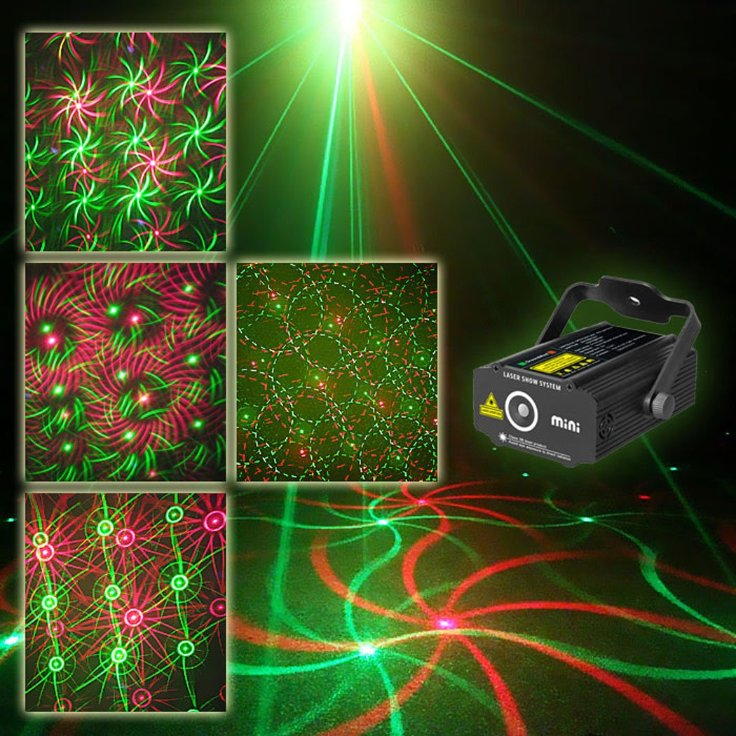 SUNY Laser Light Stage Decoration Red Green Mini Light Music Show System Star Dots Pattern Gobos Projector Stage Lighting Sound Activated Home For Night Decor Holiday Event Room Dance Party House Xmas P314