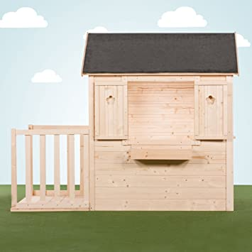Couleur Garden – Casa de jardín para niños, con terraza y apertura grande trasera, versión bruta (sin pintar o barnizar): Amazon.es: Bricolaje y herramientas