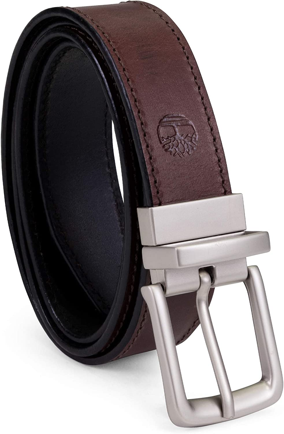 Timberland Men's Classic Leather Belt Reversible From Brown To Black