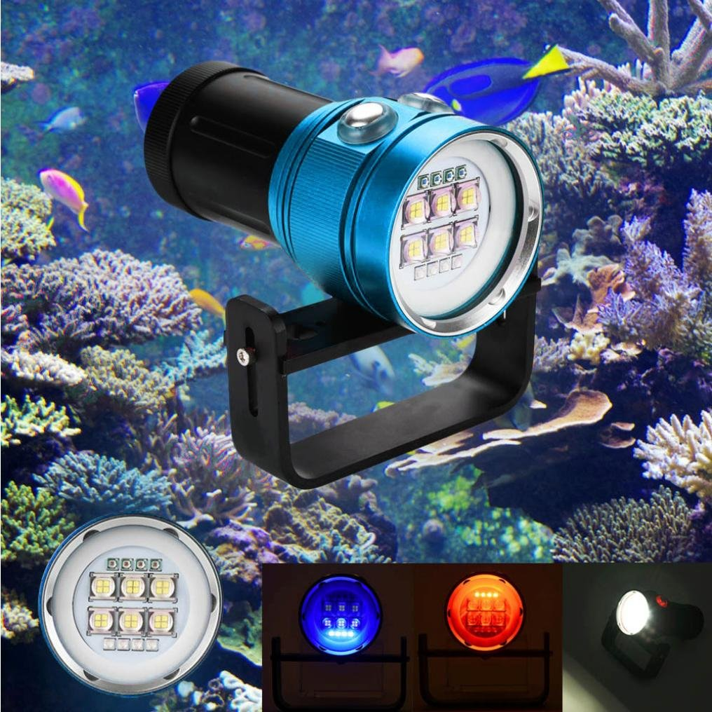 Dreamyth Practical Diving Flashlight Light Torch Photography 100M Underwater 4x Red+4x purple LED (Blue) by Dreamyth
