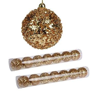 Goldene Weihnachtskugeln.Toci 14 Stück Goldene Weihnachtskugeln Christbaumkugeln Gold