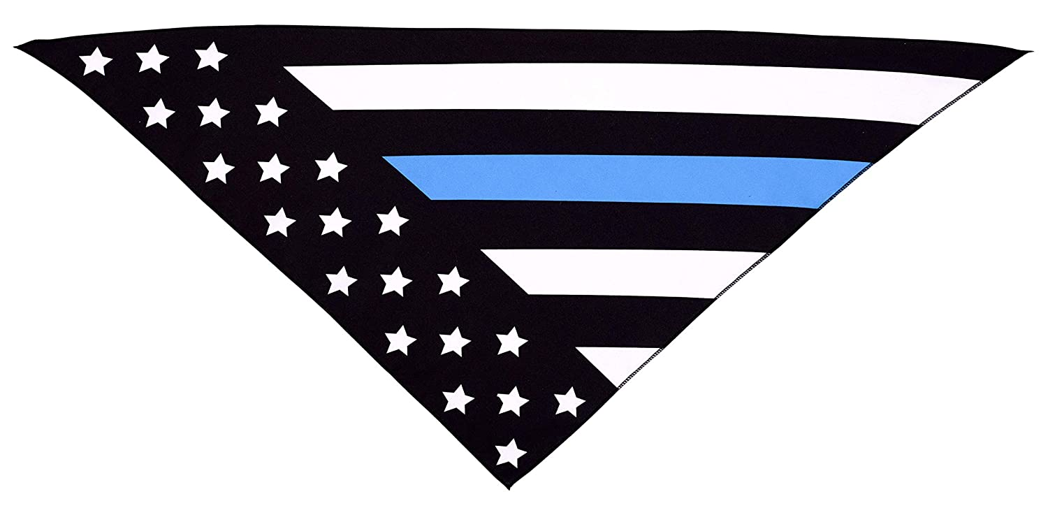 Native Pup Thin Blue Line Dog Bandana Police Law Enforcement Support Handkerchief Bandanna Package of 2