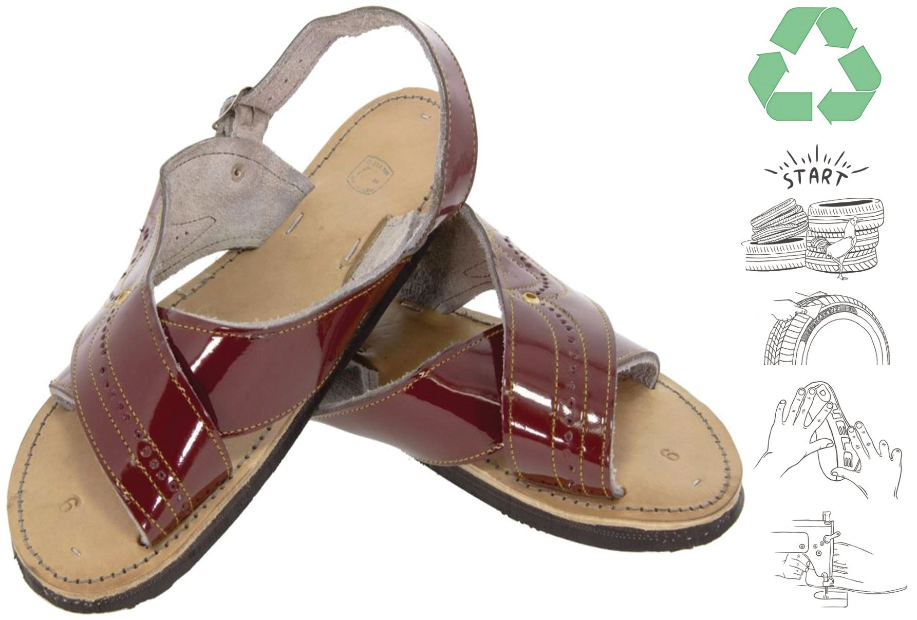 Men's Cognac Red All Real Leather Mexican Huaraches Buckle Sandals Open Toe 8