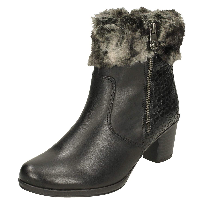 Remonte Fur Trim Niedrig Niedrig Trim Heel Ankle Boot Schwarz 3eed03
