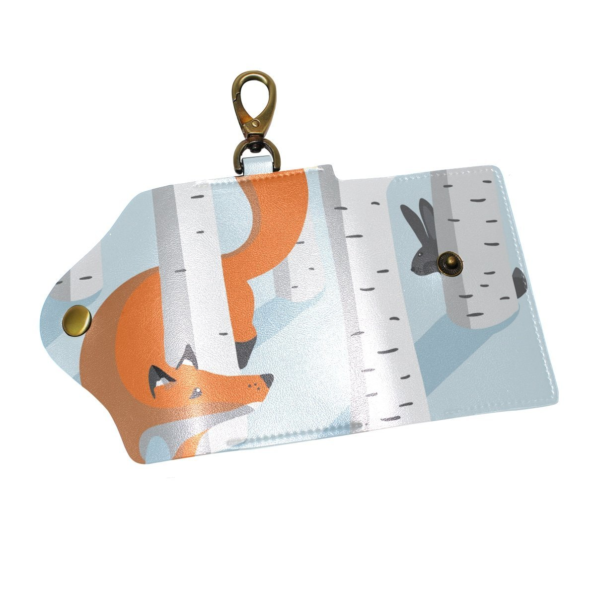 DEYYA Forest Fox Leather Key Case Wallets Unisex Keychain Key Holder with 6 Hooks Snap Closure