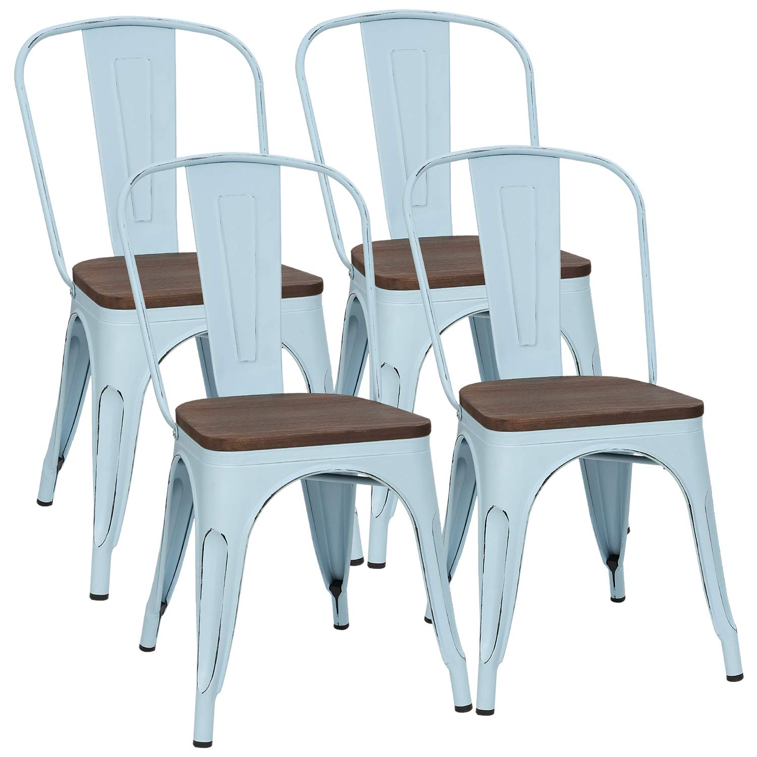 Furmax Metal Dining Chair with Wood Seat,Indoor-Outdoor Use Stackable Chic Dining Bistro Cafe Side Metal Chairs (Set of 4) (Blue Distressed)