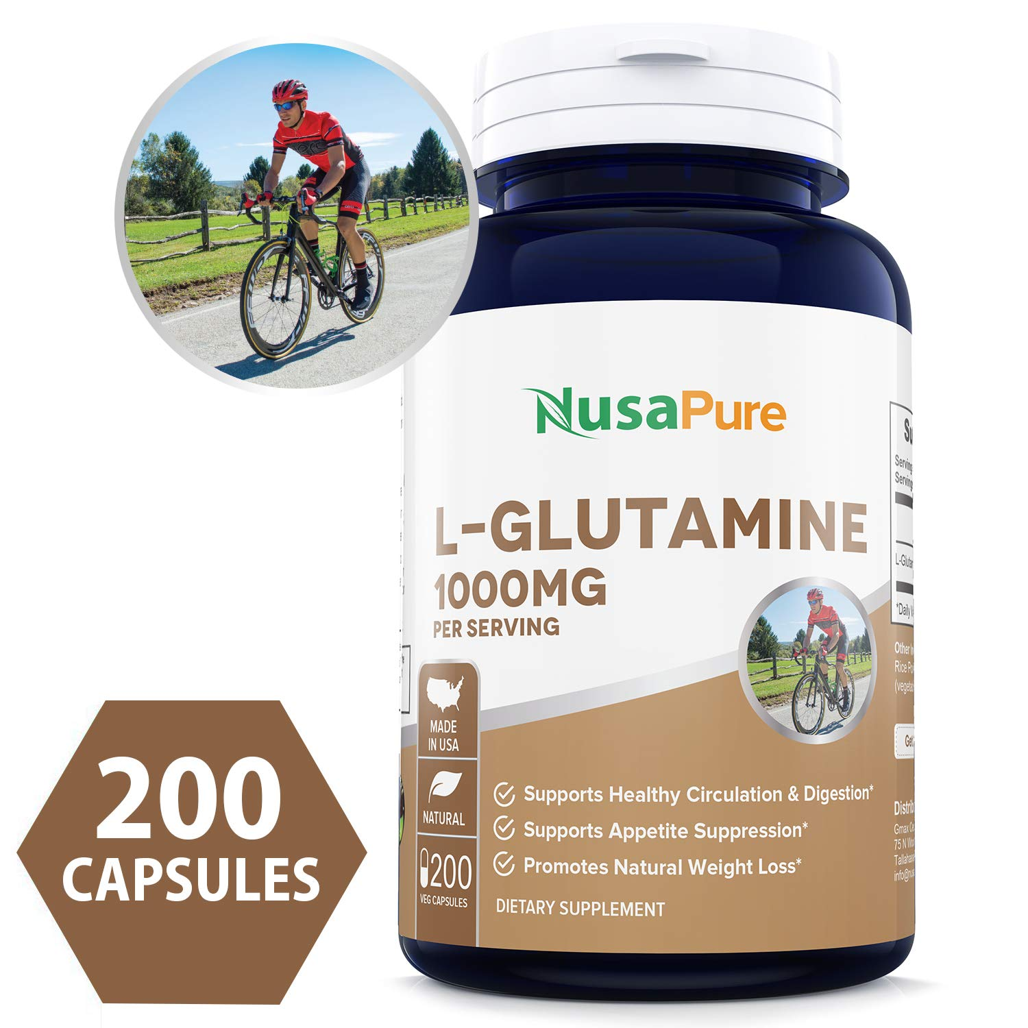 L-Glutamine 1000mg 200 Capsules (Vegetarian, Natural, Non-GMO & Gluten Free) Supports Muscle Mass, Gastrointestinal Tract & Immune Function - 500mg per Caps by NusaPure