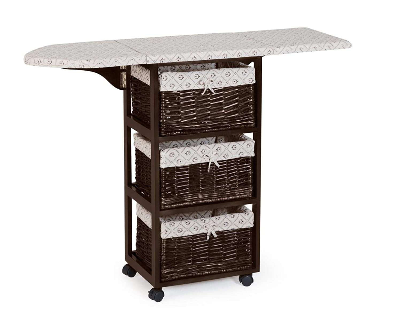 Light Walnut Brown Finish Mobile Ironing Board Station Cart With Storage Baskets DermaPAD
