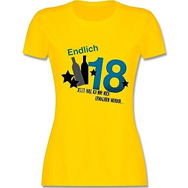 Shirtracer Geburtstag - Endlich 18 Blau - S - Gelb - L191 - Damen T-