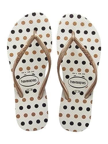 a2e966d77aae9 Havaianas Womens Slim Fresh White Rose Gold Black Polka Dot Flip Flops  Sandals