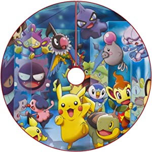 oobon Christmas Tree Skirt for Anime Fans,Pikachu Pichu Gengar Mime Jr, Xmas Holiday Party Ornament Supplies Large Santa Tree Mat Decor for Gift and Decoration, 30 inches