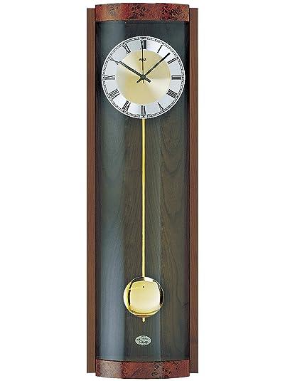Reloj De Péndulo AMS 5087/1 - Reloj de pared radio colgante Carcasa de madera Nogal: Amazon.es: Joyería
