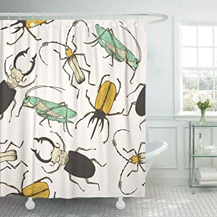 Emvency Fabric Shower Curtain With Hooks Brown Cartoon Bug Pattern Funny Grasshopper Stag Beetle Childish Perfect