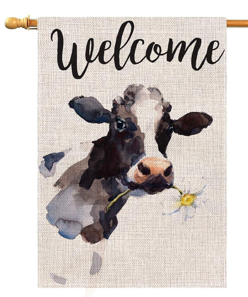 BLKWHT Welcome Vintage Cow with Flower House Flag Vertical Double Sided 28 x 40 Inch Farmhouse Yard Outdoor Decor