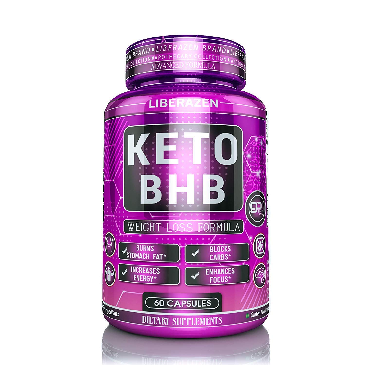 Keto BHB Pills - Advanced Ketogenic Diet Supplement - Max Exogenous Ketones Capsules for Ketosis Boost and Fast Natural Fat Burn and Weight Loss - 60 Capsules