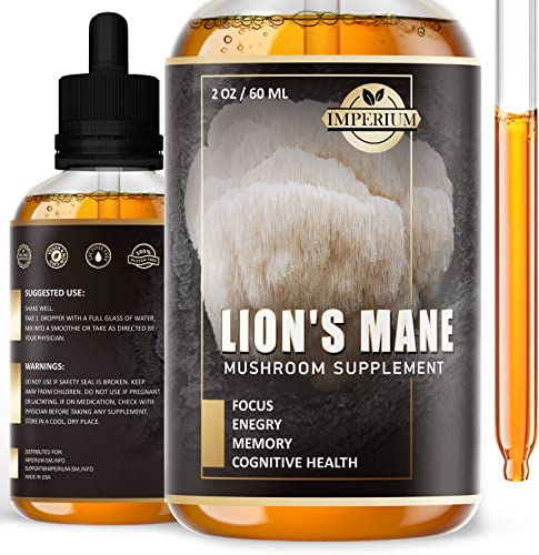 Lions Mane Mushroom Liquid Extract – Everyday Focus Supplement and Brain Booster Drops – Sugar-Free Smart Mushroom Tincture That Gives Energy – Immune System Booster for Men and Women 2 Fl Oz