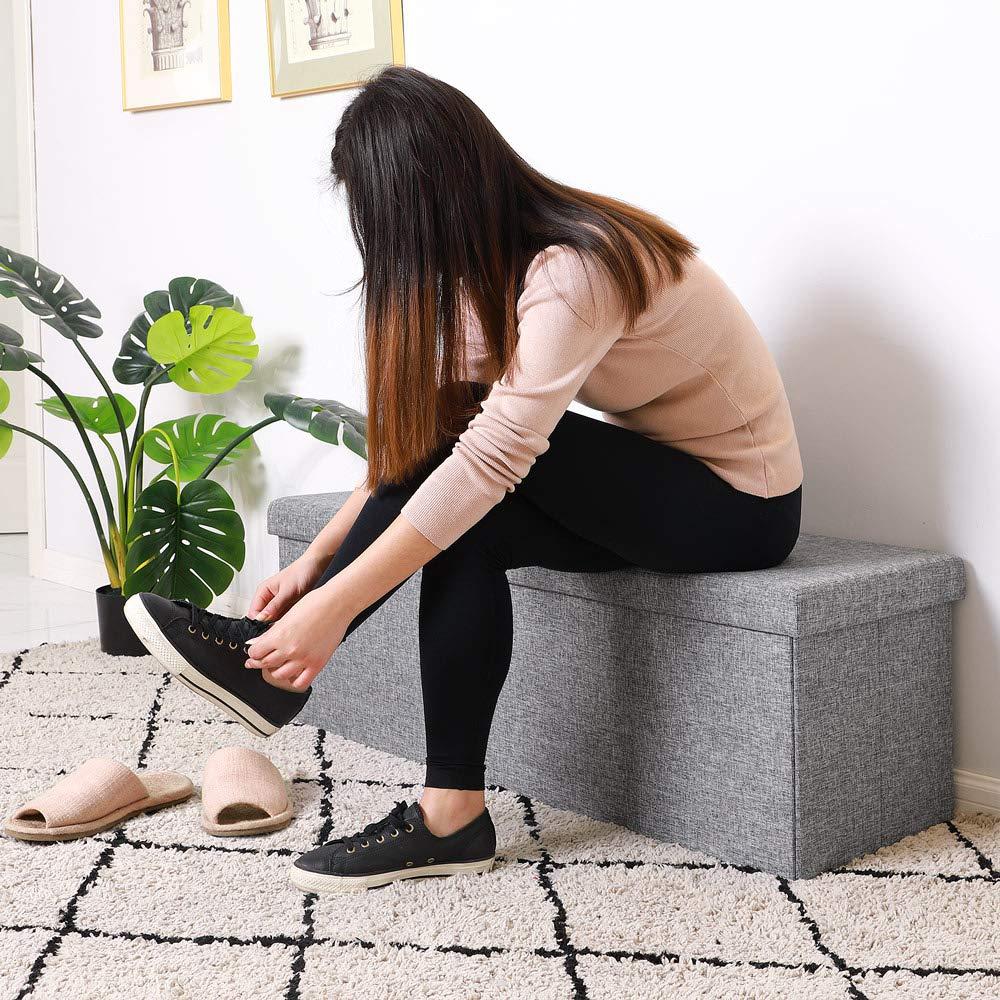 Deuba Ottoman Footstool Linen Fabric Faux Leather Bench Light Grey 80 x 40 x 40 Folding Lid