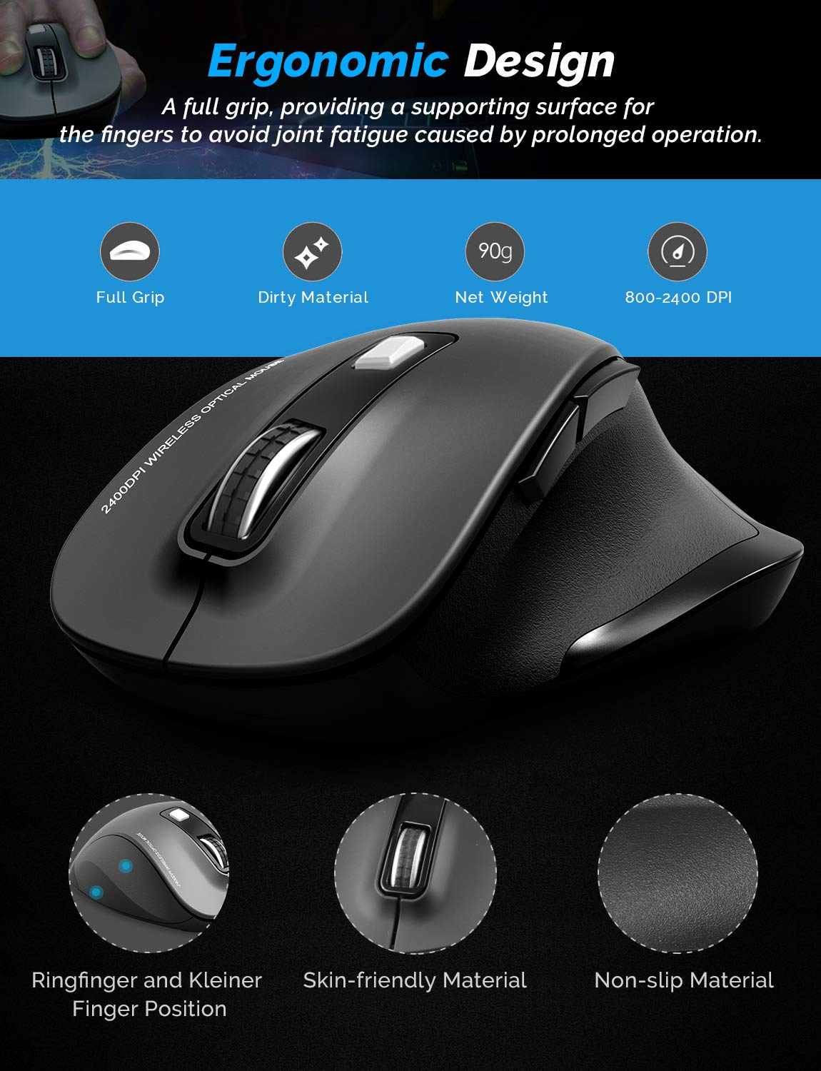Wireless Mouse WisFox 2.4G USB Wireless Ergonomic Mouse Computer Mouse 6 Buttons Laptop Mouse USB Mouse with Nano Receiver 2400 DPI 5 Adjustment Levels Cordless Wireless Mice for Windows-Blue
