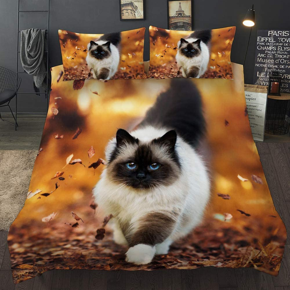 UMOOIN Loups Mignons Chat Chien Impression Photographique de literie Ensemble Housse de Couette Housse de Couette Animal Sauvage Tribal 3D lit Deux taies doreiller Ensemble de literie 4 pi/èces,Cat