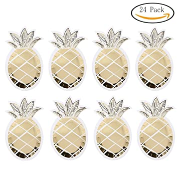 O-Heart 24 Pack Gold Foil Pineapple Party Paper Plates Disposable Plates Luau Party  sc 1 st  Amazon.com & Amazon.com: O-Heart 24 Pack Gold Foil Pineapple Party Paper Plates ...
