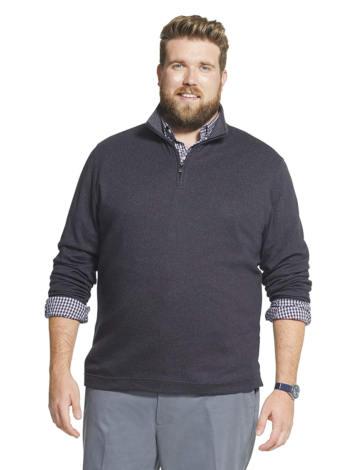 Geoffrey Beene Mens Big and Tall Long Sleeve Stretch Twill 1//4 Zip Pullover