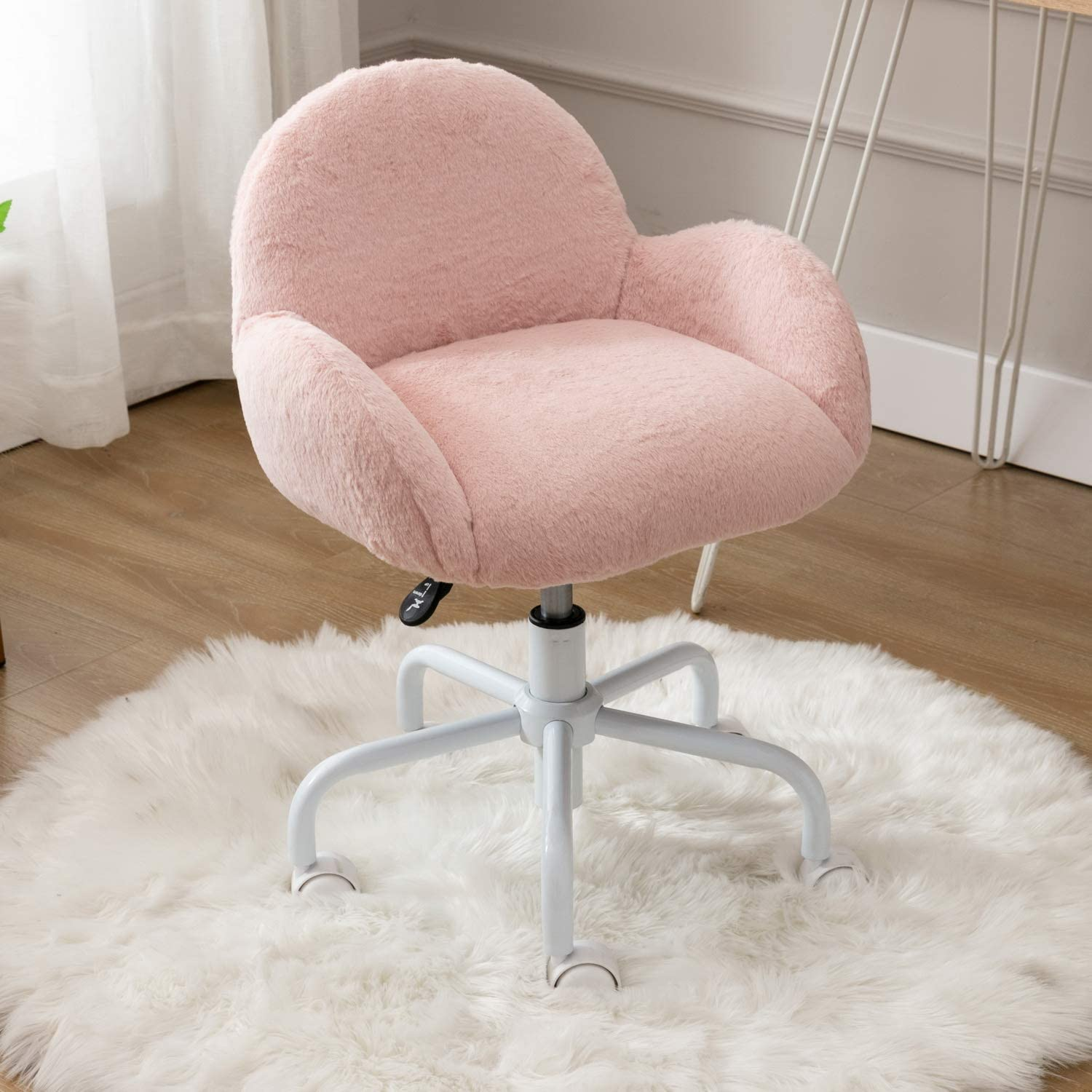 CIMOTA Pink Girls Desk Chair Furry Adjustable Study Chair with Wheels Armrest Swivel Child Rolling Computer Chair for Kids Girls Boys Bedroom