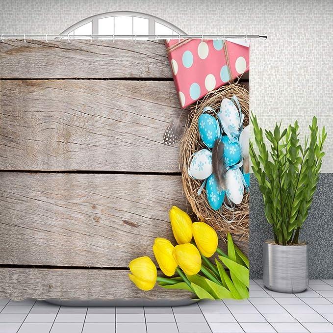 "71/"" Cute Dwarf Elves Easter Colorful Eggs Shower Curtain Sets For Bathroom Decor"