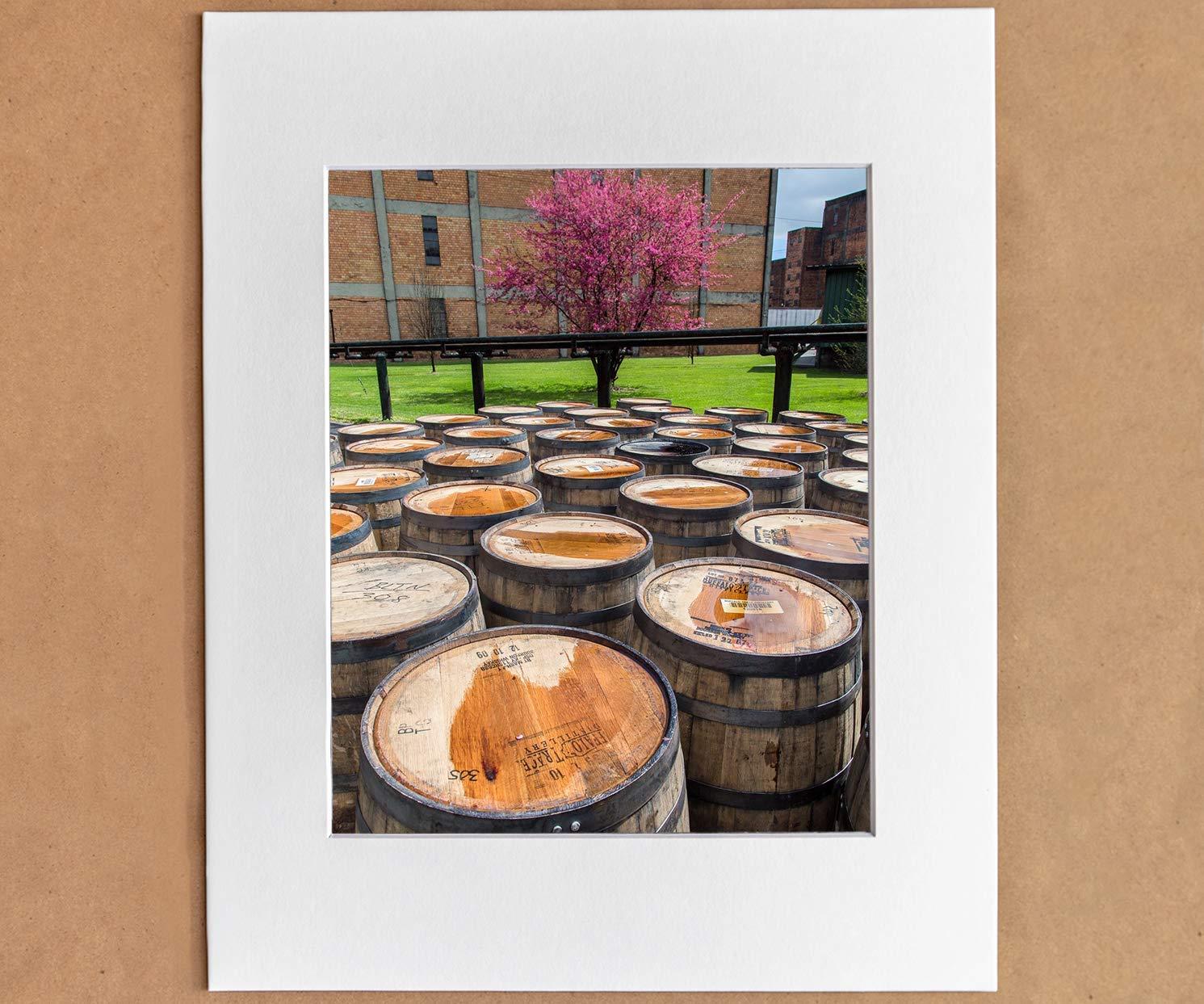 8x10 Matted Photographic Print Buffalo Trace Whiskey Distillery Rickhouse Bourbon Barrels Wall Art Bar or Pub Decor