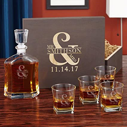 Amazon Com Love Marriage Whiskey Decanter Set With Wooden