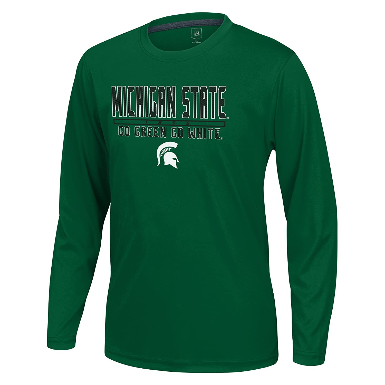 J America NCAA Michigan State Spartans Boys Youth School Slogan Long Sleeve Callout Poly Tee Green Medium