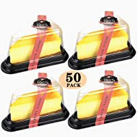 Zezzxu Clear Cake Slice Box with Sealing Stickers Plastic Dessert Boxes for Handmade Bakery Birthday Wedding Favor (4 inch Triangle, 50 Pack)