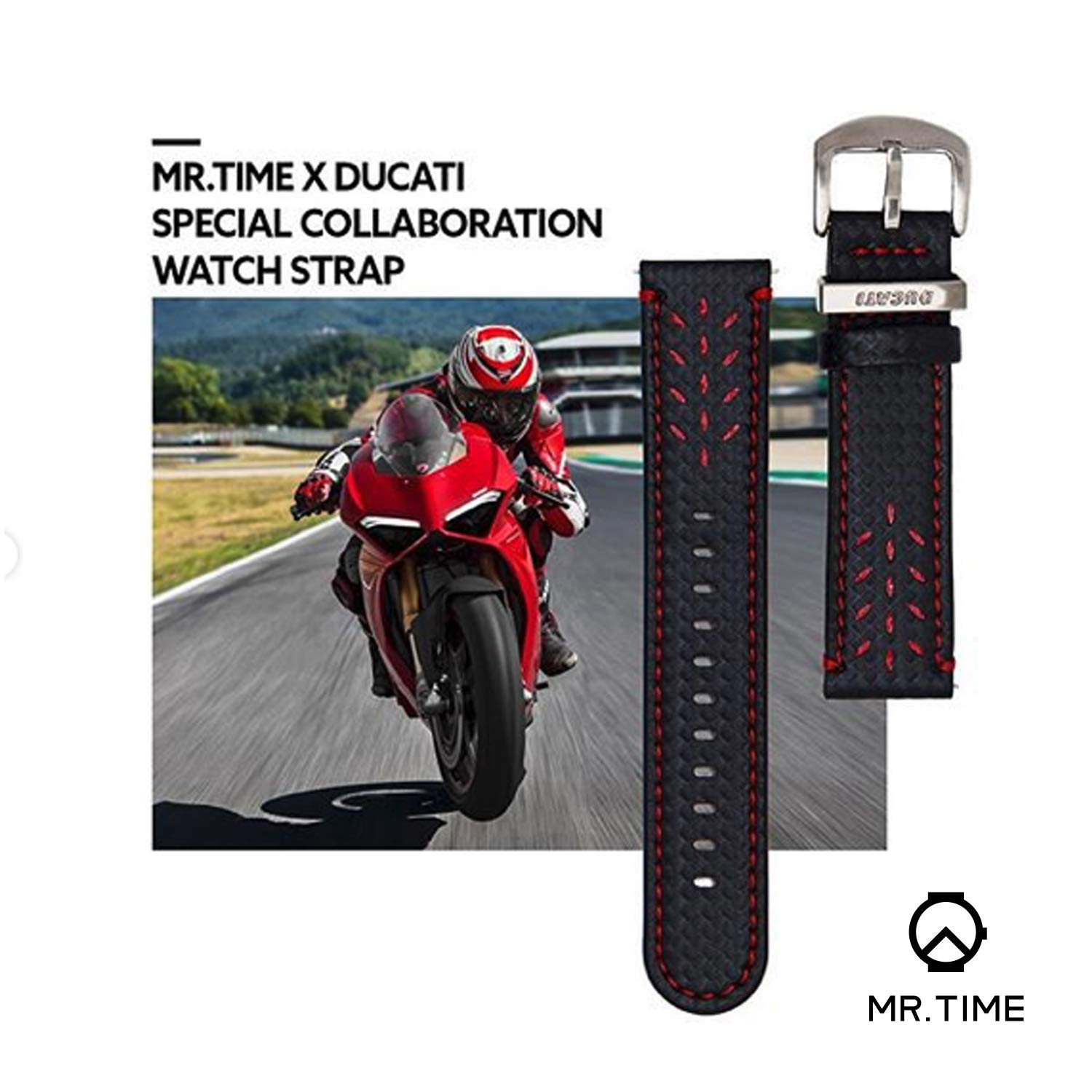 Mr. Time Smart Watch Band for Apple Watch 44mm 42mm, [Ducati Special Edition] Genuine Leather Sport Strap Replacement Bands Compatible for Apple Watch Series 4, 3, 2, 1 - Black by MR. TIME (Image #4)