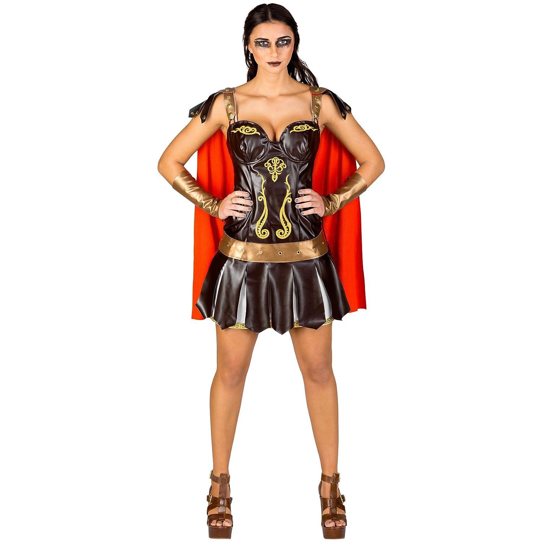 TecTake dressforfun Disfraz para Mujer de gladiadora | Vestido Corto con Mitones con Aspecto de Armadura (L | no. 300384)