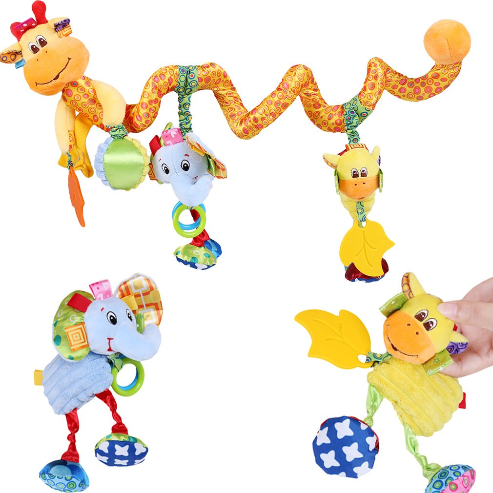 Lalang Baby Kids Spiral Activity Hanging Toys Stroller Toy Car Seat Bed Hanging Toys deer and elephant