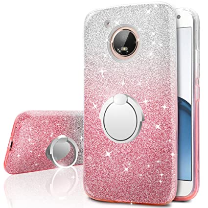 Moto E4 Case (USA Version), Silverback Girls Bling Glitter Sparkle Case with 360 Rotating Ring Stand, Soft TPU Outer Cover + Hard PC Inner Shell Skin ...