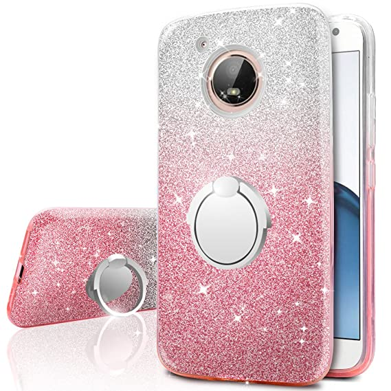 newest 1dfd8 cc19e Moto E4 Case (USA Version), Silverback Girls Bling Glitter Sparkle Case  with 360 Rotating Ring Stand, Soft TPU Outer Cover + Hard PC Inner Shell  Skin ...