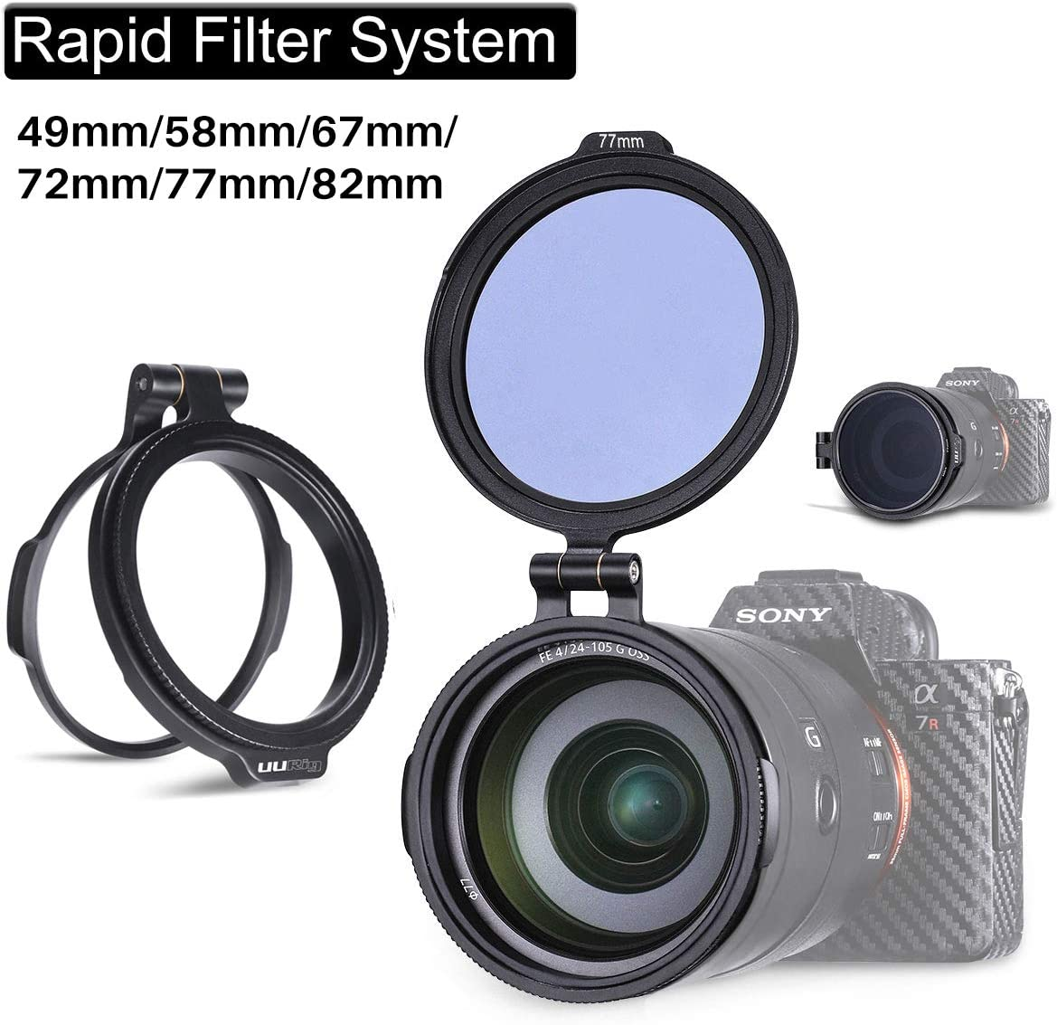Yifant 67MM Aluminum Rapid Camera Lens ND Filter Exchange Mount Bracket Quick Release Filter Adapter Ring Exchange System for 67MM Filter