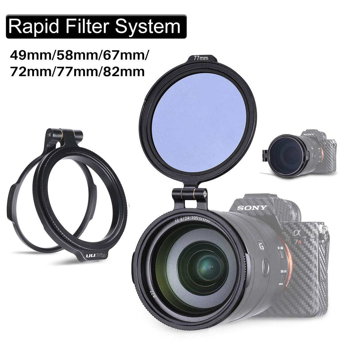 49//58//67//72//77//82mm Available Filter Ring Adapter Camera Lens Filter Metal Stepping Ring Rapid Filter System Compatible for Canon Nikon Sony Olympus DSLR Camera 1 Pack
