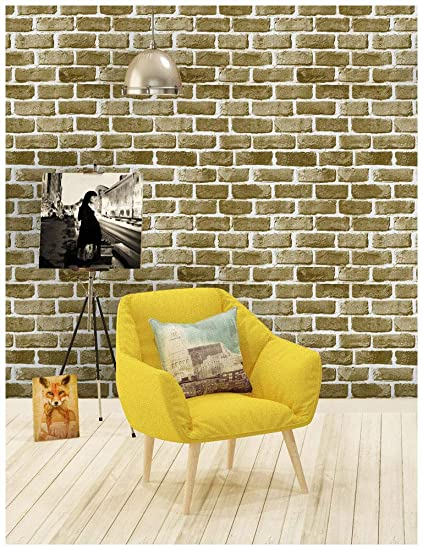 Haokhome 62053 Faux Brick Wallpaper Peel And Stick Khakibrownoff
