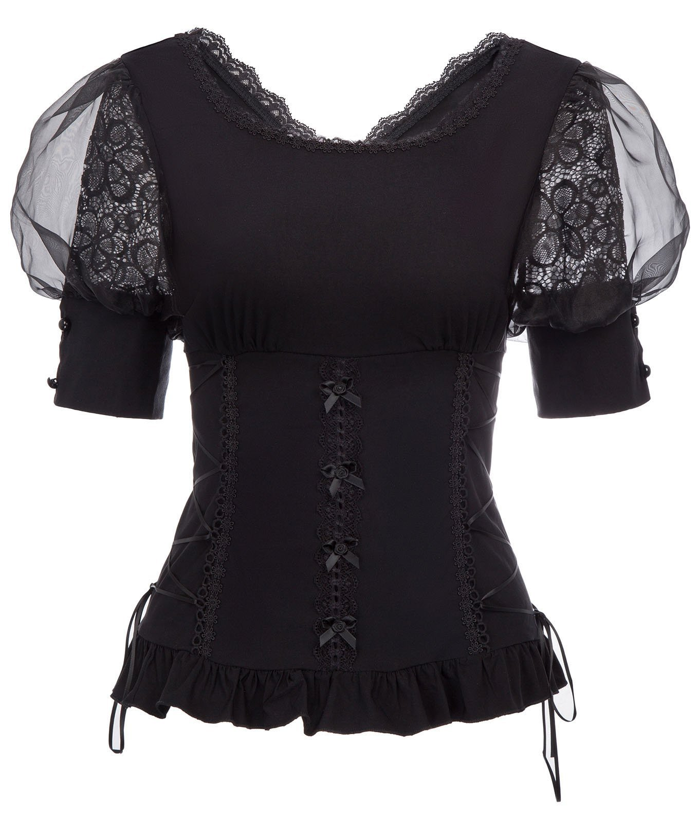 Belle Poque Women Victorian Puff Sleeve Shirt Steampunk Gothic Lace T Shirt Tops 3